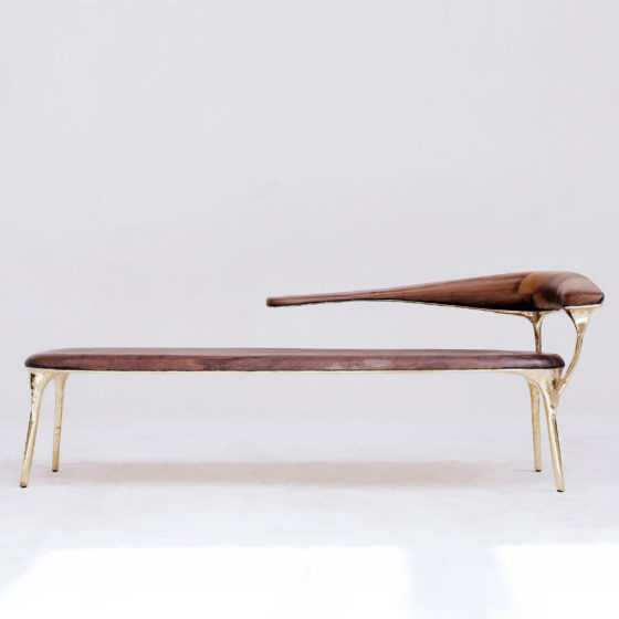 Valentin LOELLMANN Brass and Walnut Lounge Chair