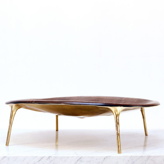 Valentin LOELLMANN Walnut Brass Coffee Table