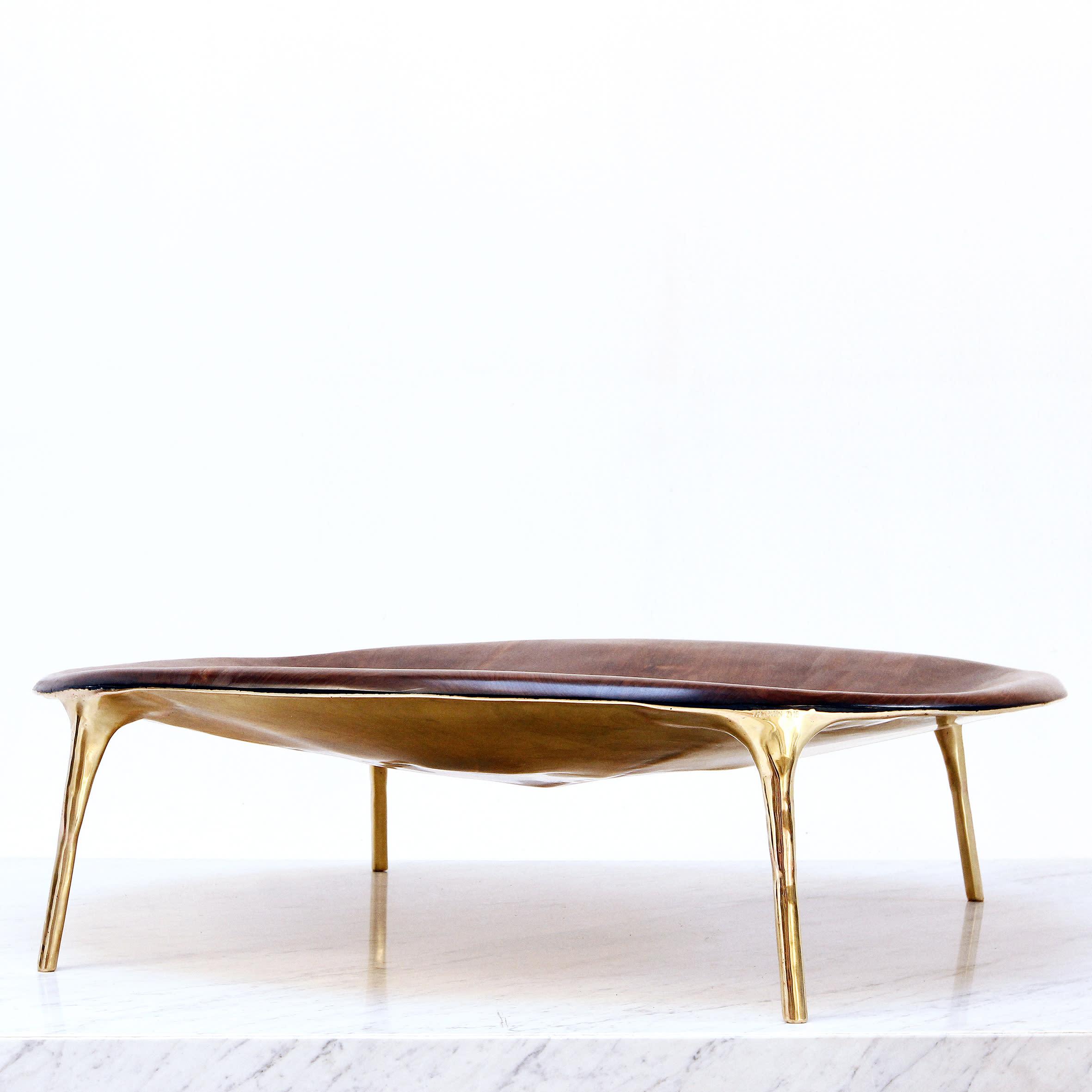 Valentin LOELLMANN Walnut Brass Coffee Table